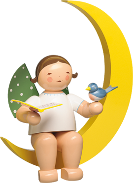 771/12, Angel with Songbook and Bird, in Moon, Large