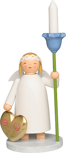 Marguerite Angel with Heart and Flower, with wooden Candle