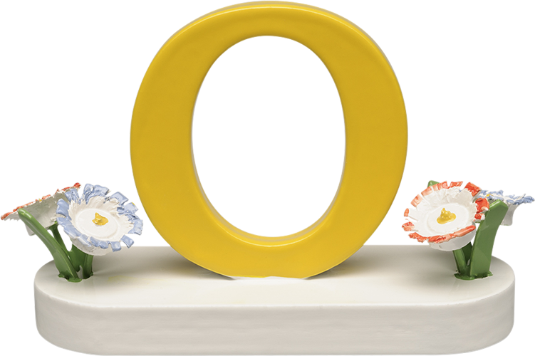 Letter O, with Flowers