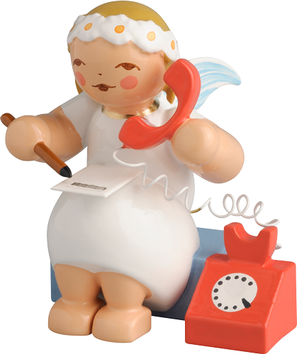 Marguerite Angel, Sitting, with Telephone