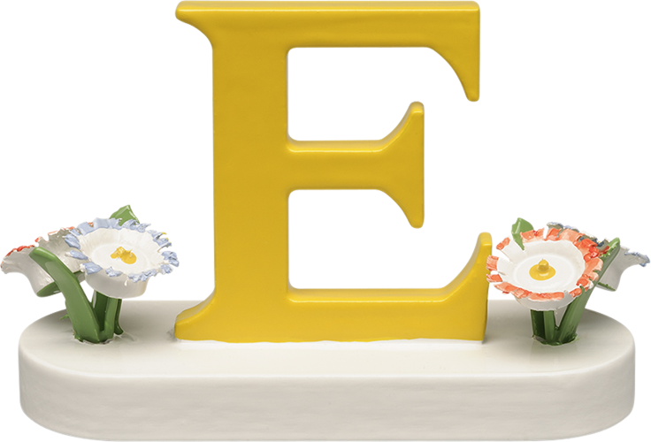 Letter E, with Flowers